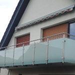 gbaa006 Balkongeländer aus Edelstahl mit Glassichtschutz - Außenanlagen