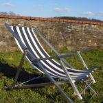 gbmo007 Liegestuhl aus Edelstahl, Vierkantrohr, Baumwoll-Segeltuch - Einrichtungen