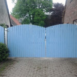 gbto006 Verzinktes Hoftor aus Vierkantrohr mit Holz-Sichtschutz - Tore, Türen & Zäune
